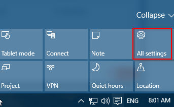 All settings option from Windows 10 action center