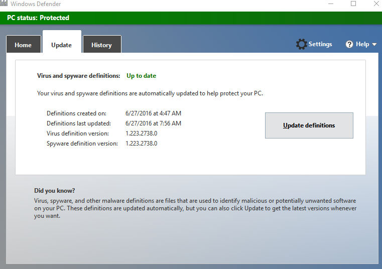 Update tab in Windows Defender
