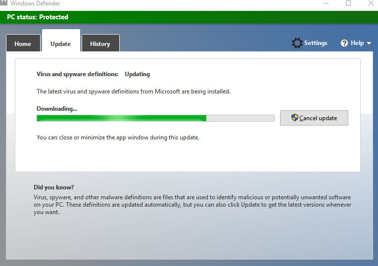 manually updating Windows Defender definitions