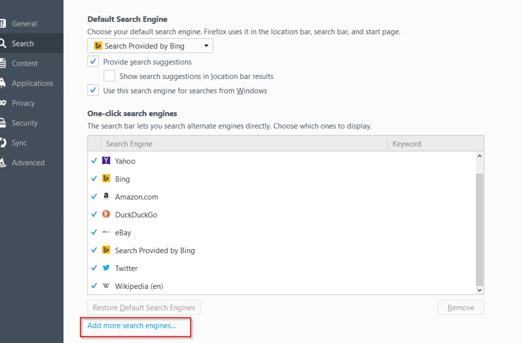 adding other search engines in Firefox