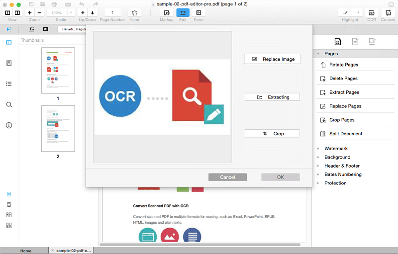 ocr scanning of pdf pages in iksysoft pdf editor pro for mac