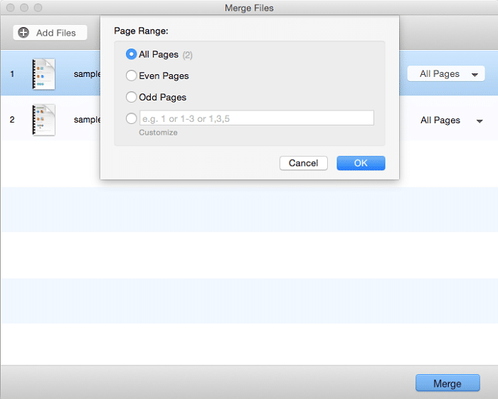choosing pages from source pdf files for merging