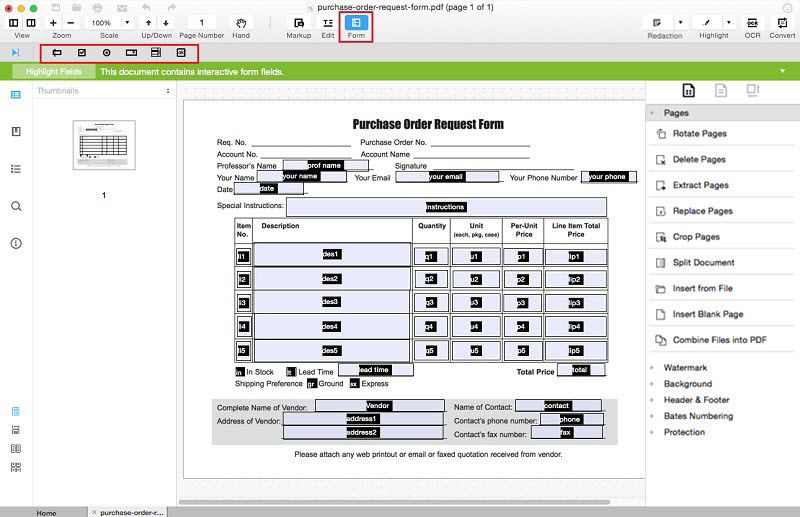 creating new pdf forms
