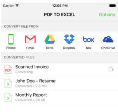 pdf to excel free app for iphones and ipads