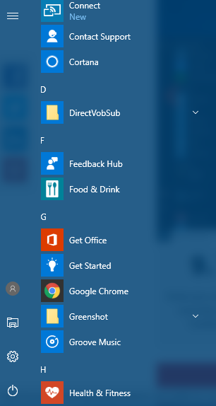 redesigned Start menu in Windows 10