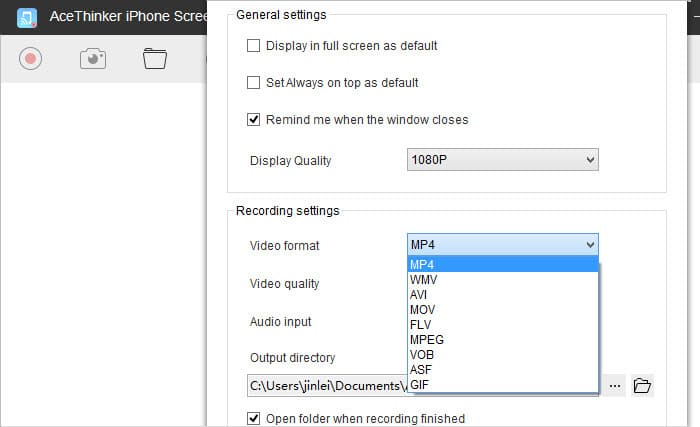 configuring video settings in iphone screen recorder