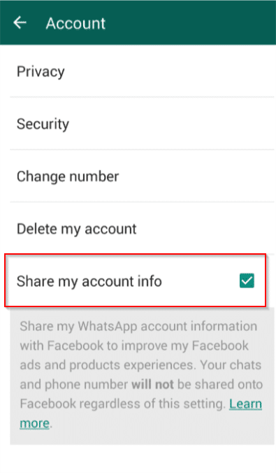 disable account info sharing in whatsapp