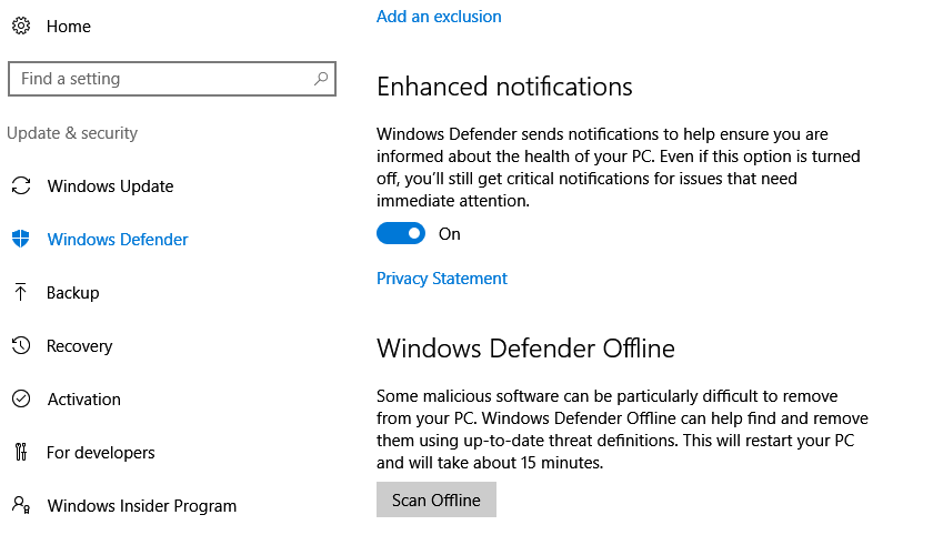 offline scan in windows defender