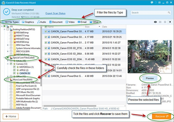 recovering lost data using easeus data recovery wizard free