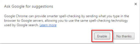 enabling auto suggest to fix typos in Google chrome