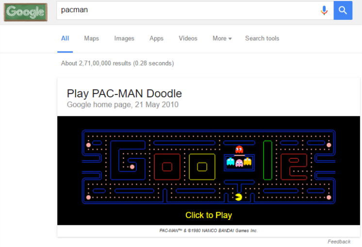 playing pacman through google search