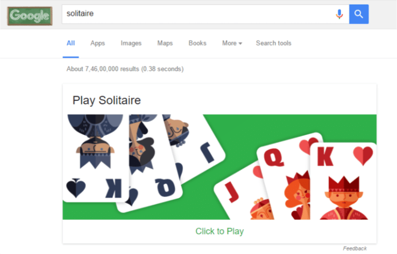 playing solitaire through google search