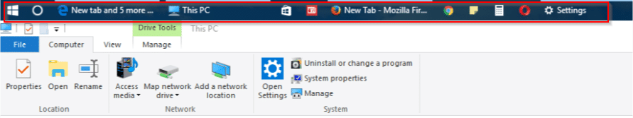 new location of windows 10 taskbar