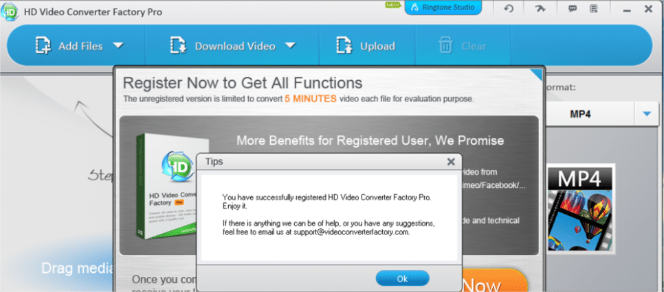 registering giveaway version of WonderFox HD Video Converter Pro