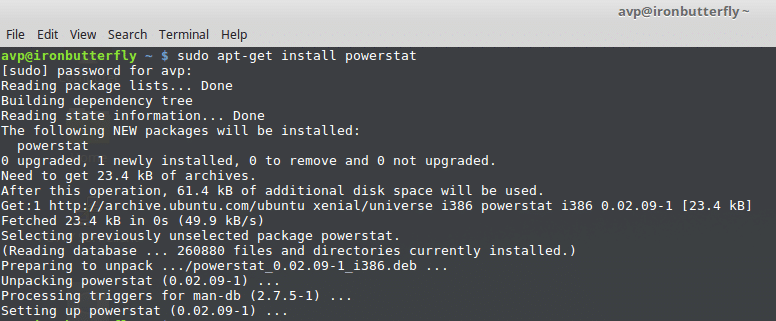installing powerstat in linux mint