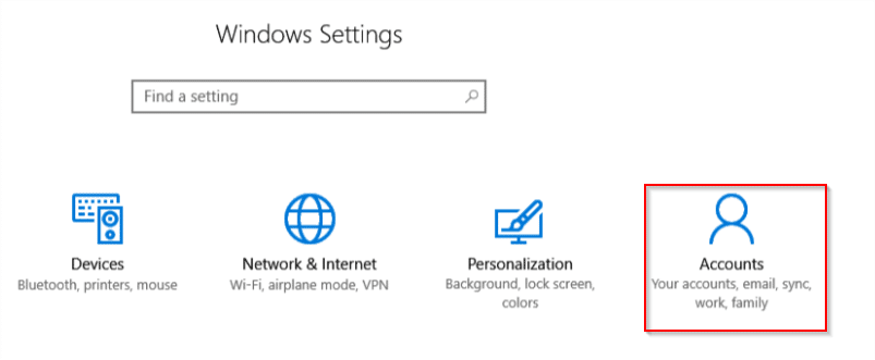 Accessing Windows 10 Accounts settings