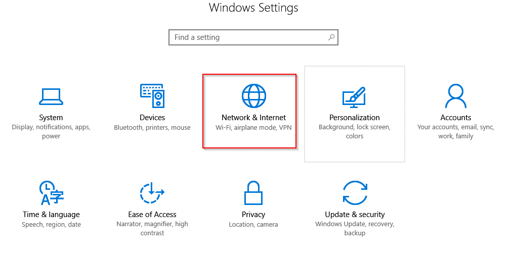 Windows 10 settings list