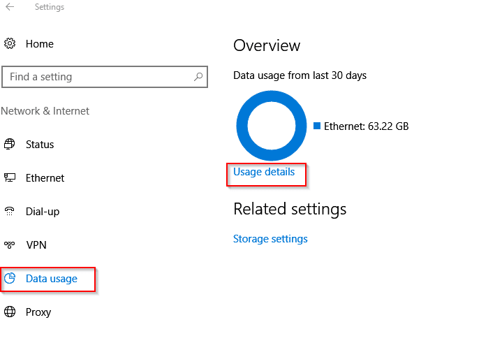 data usage of apps in Windows 10