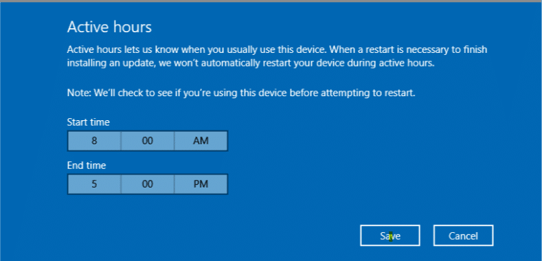 changing active hours in windows 10