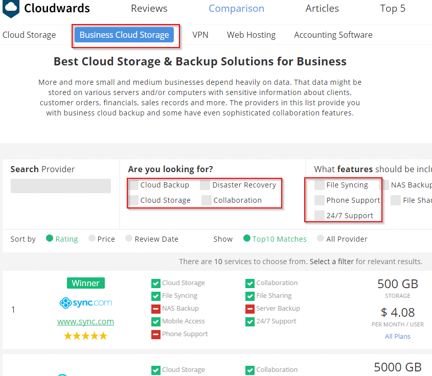 choosing business cloud storage providers through online tool