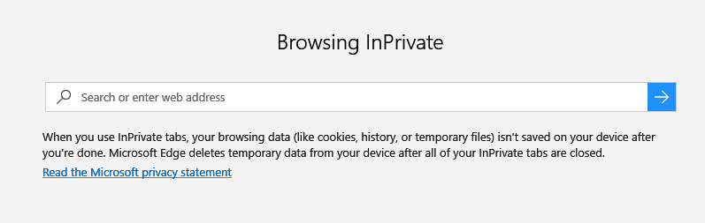 default InPrivate tab in Microsoft Edge