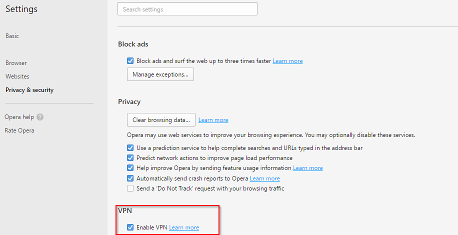 enabling VPN mode in Opera browser