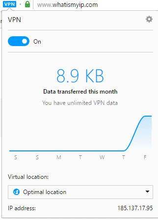 VPN details when using Opera browser