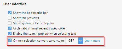 enable currency convert feature and set the output currency in Opera