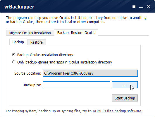 backing up oculus rift installation using vrBackupper