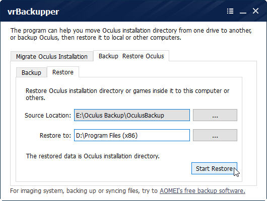 restoring oculus rift installation using vrBackupper