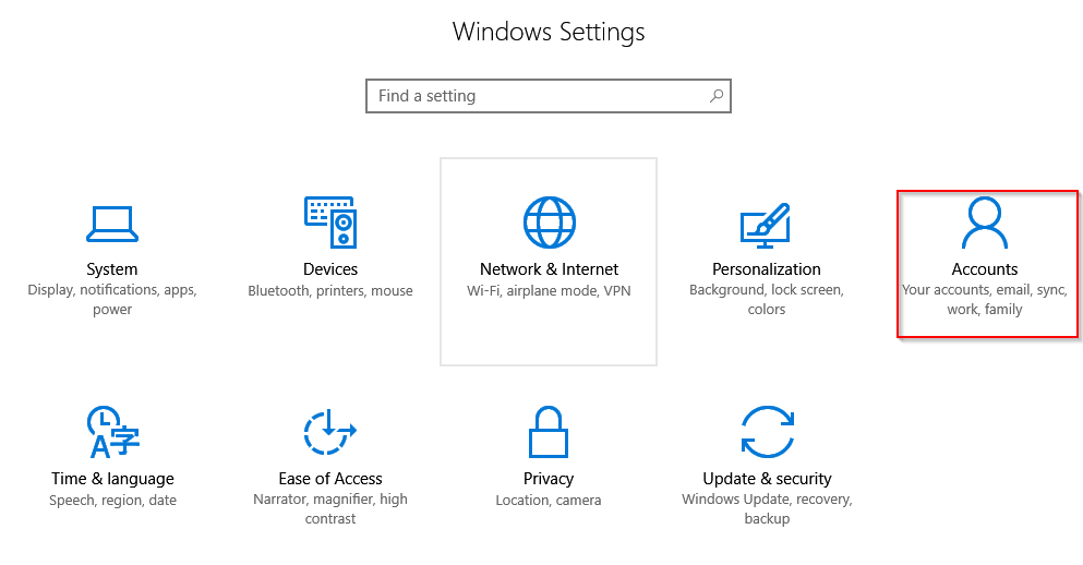 account settings in windows 10