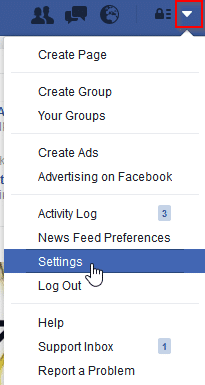 accessing Facebook settings
