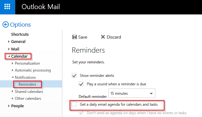 turn off daily schedule emails in outlook.com