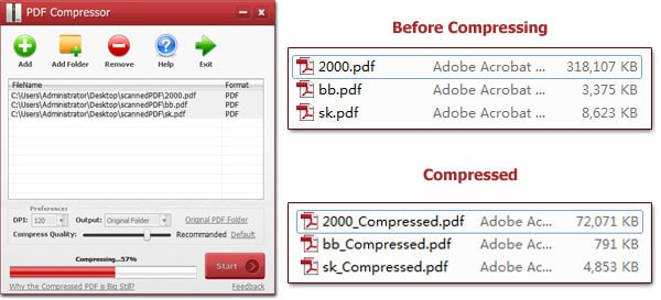 compressing pdf documents using pdf compressor