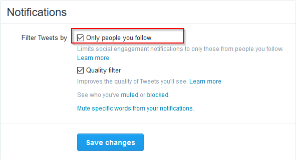 filter notifications in twitter