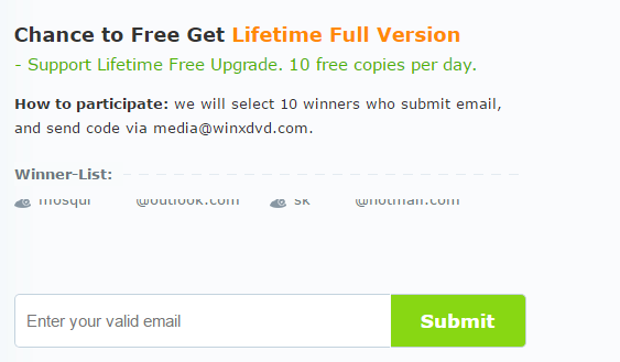 participate in lifetime free upgrade version of WinX DVD Ripper using email