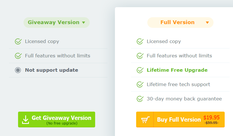 giveaway version v/s paid version of WinX DVD Ripper