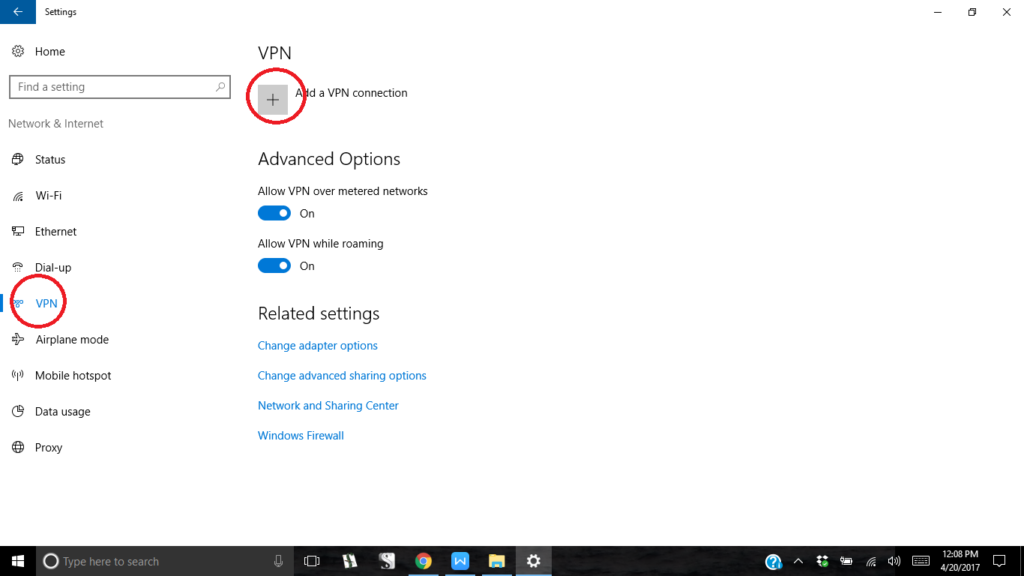 adding a vpn connection in windows 10