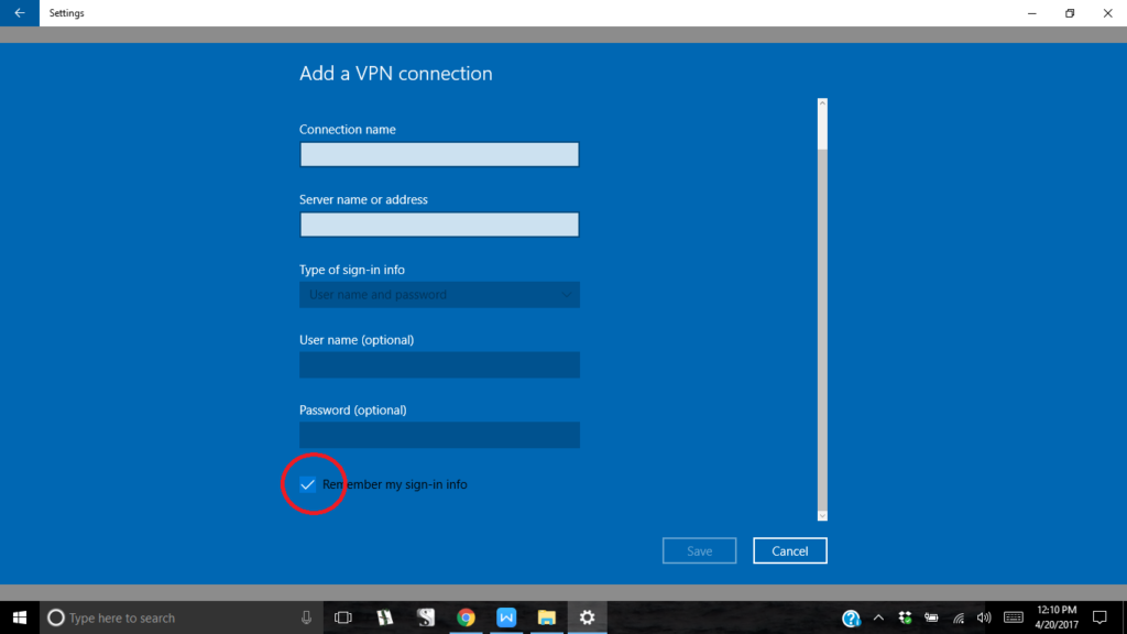add vpn in windows 10