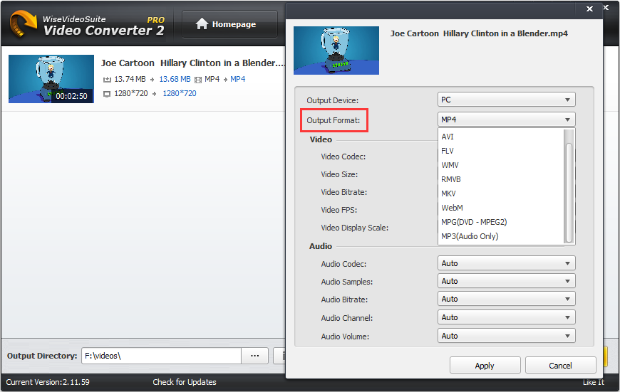 choose output video format in wise video converter
