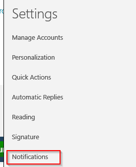 Settings menu in Windows 10 Mail app