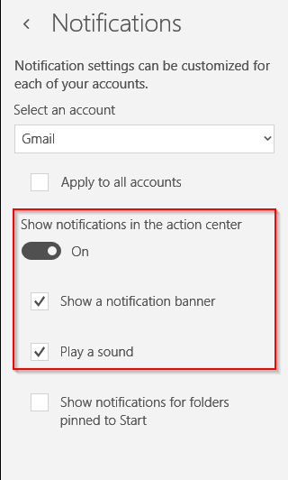 configuring email notifications for Windows 10 Mail