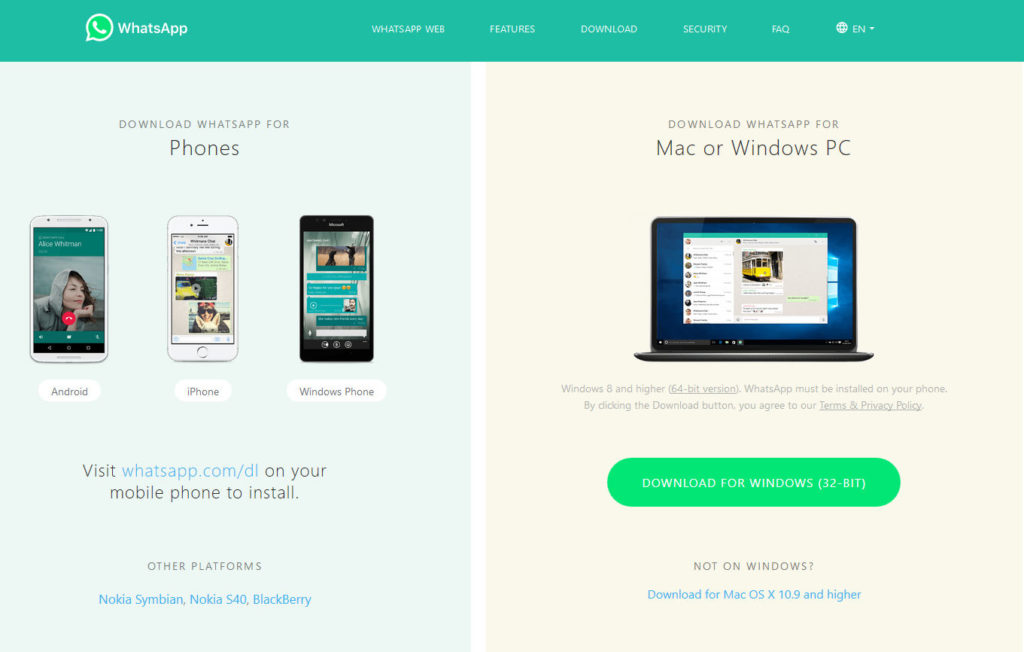 Whatsapp messenger download page for Windows and Mac