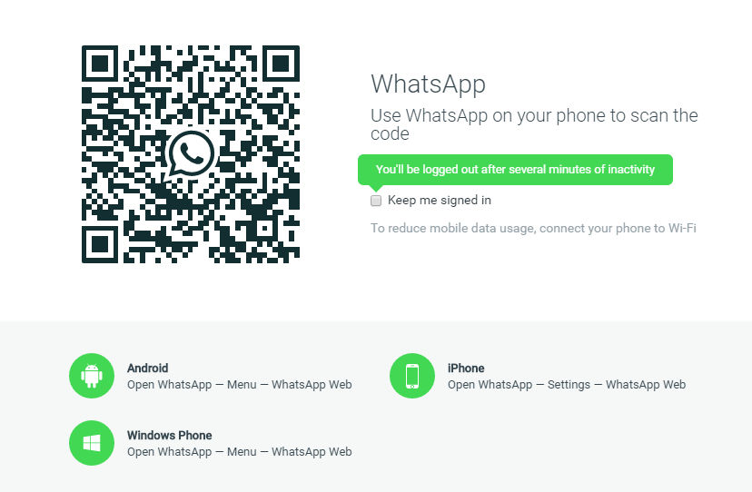 login using QR code when using Whatsapp messenger for Windows 10