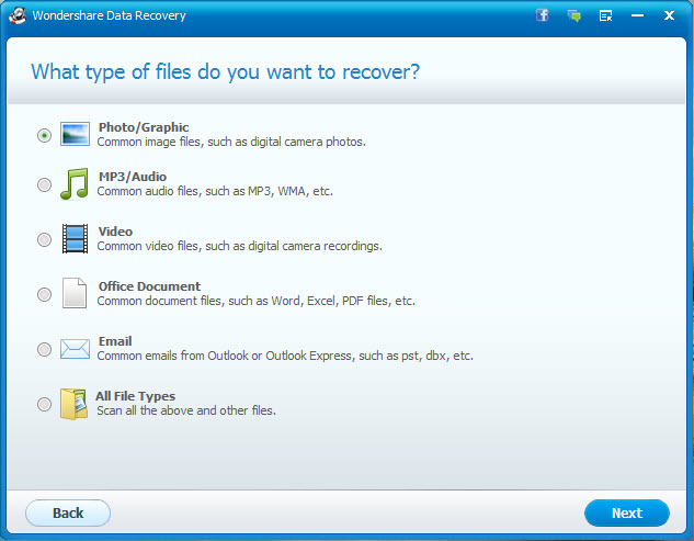 Specifying the file types to be recovered