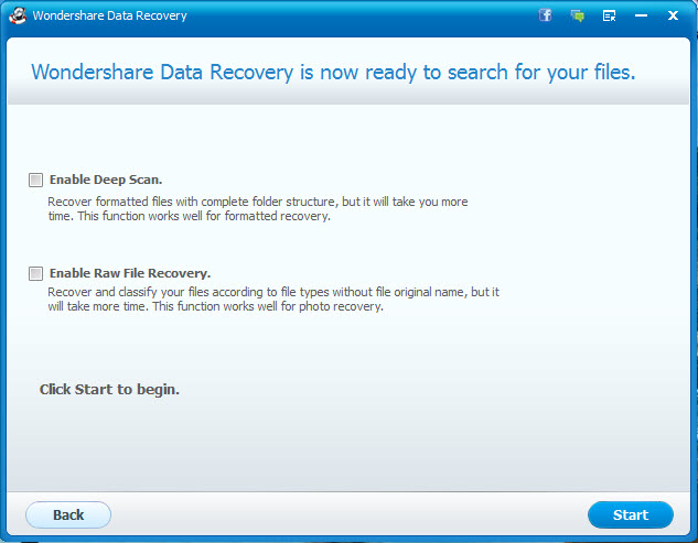 selecting scan type for data recovery using Wondershare data recovery wizard