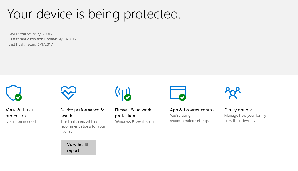 Windows Defender Security Center dashboard in Windows 10 Creators' update
