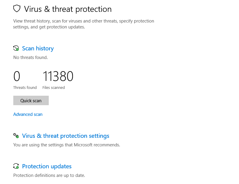 virus and scan statistics in Windows Defender Security Center
