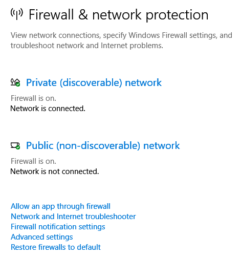 configuring network connections and firewall through Windows Defender Security Center