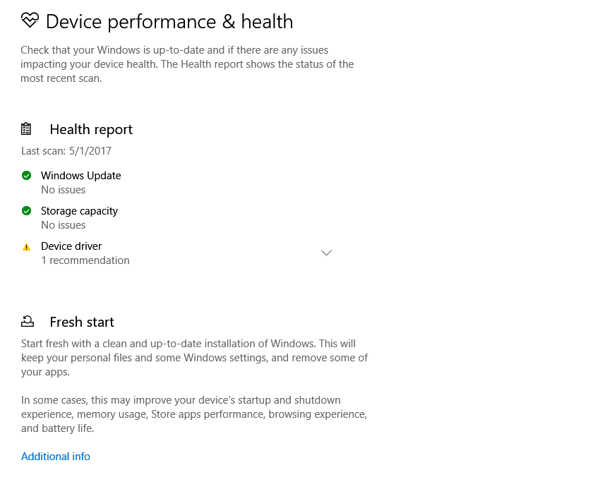 device performance and health settings in Windows Defender Security Center